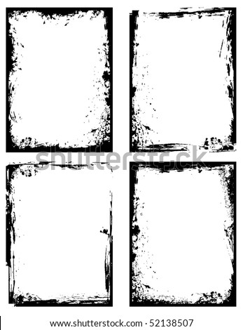 Set of grungy Frames & Textures, vector illustration