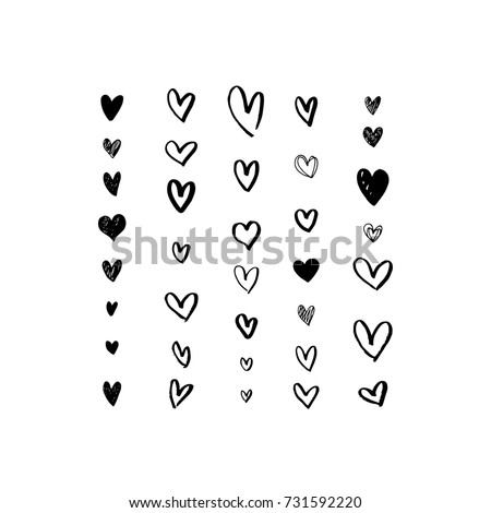Set of grungy hand drawn hearts. Handmade painted heart shapes. Symbol of love. Valentine's day, wedding card. Vector illustration isolated on white background.