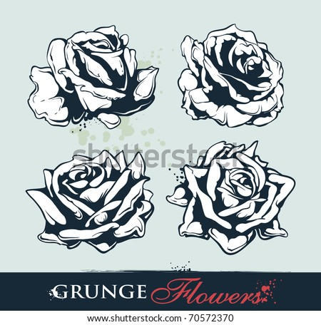 Set of grungy roses. Vector EPS 10 illustration.