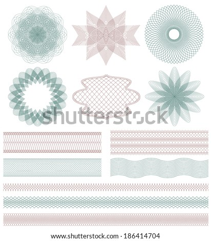 Set of Guilloche decorative elements Vector illustration