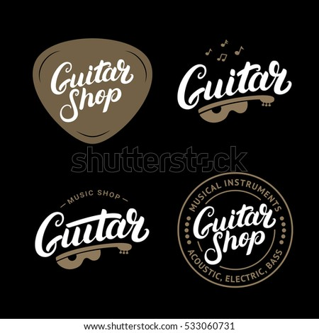 set of guitar shop hand written lettering logos emblems badges vintage style isolated on. Black Bedroom Furniture Sets. Home Design Ideas