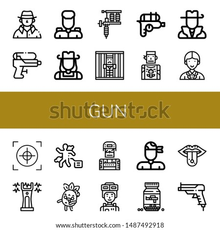 set of gun icons such as