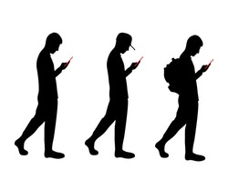 Set of guy silhouettes use phone