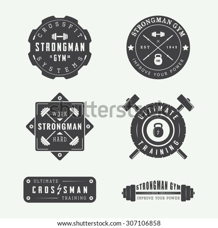 set of gym logos  labels and