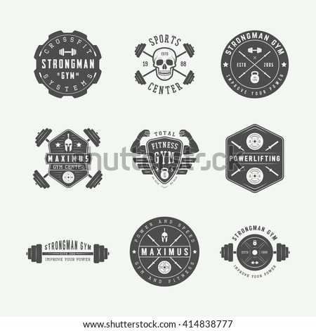 Set of gym logos, labels and slogans in vintage style. Vector illustration