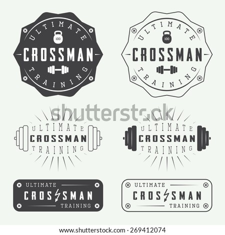 Set of gym logos labels badges and elements in vintage style