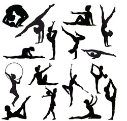 Set of gymnasts vector silhouettes.