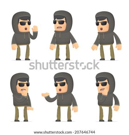 set of hacker character in