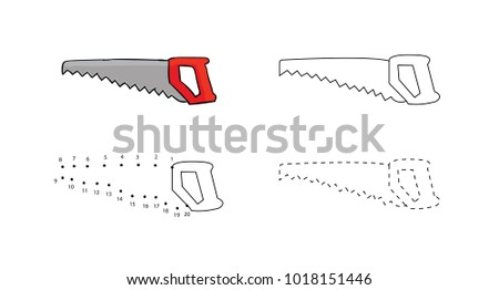 Set of hacksaws with a red handle for kids drawing. Vector illustrations of hand drawn element. Educational children painting game.