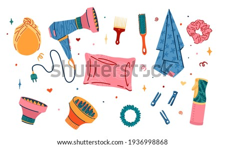 Set of hair accessorise of barbershop. Illustration of silk pillowcase, silk towel, satin hair band. Turban for hair care in the bathroom. Hair dryer, clips and comb. Curly girl method. Vector.