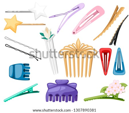 Set of hair accessory. Hairpins and hair-clip for female salon concept. Flat vector illustration isolated on white background. Stockfoto ©