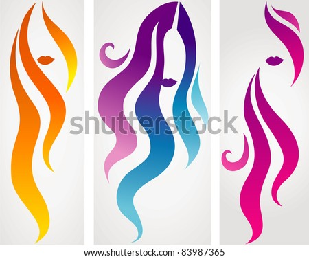 Set of hair icons - stock vector