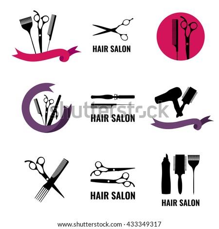 Set of hair salon logo, labels and design element.