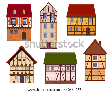 Set of half timbered houses on white background. Timber framed buildings. Vector illustration