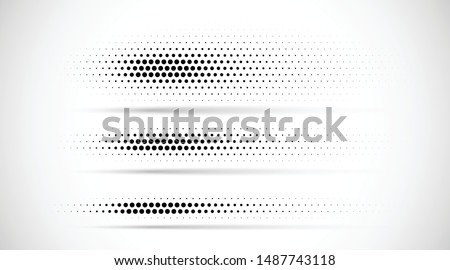 Set of halftone dots gradient pattern texture isolated on white background. Straight dotted spots using halftone circle dot raster texture. Vector blot half tone collection. Divider lines.