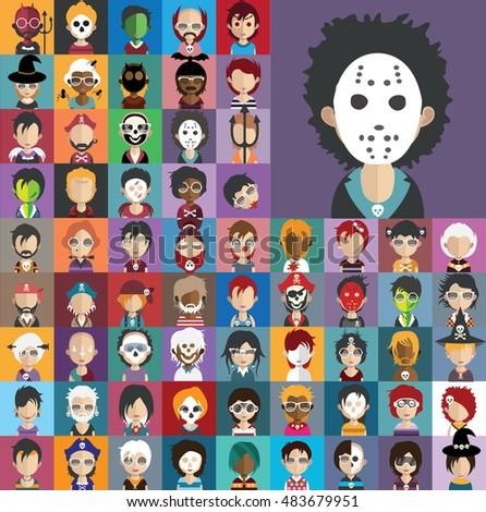 Set of Halloween Avatars