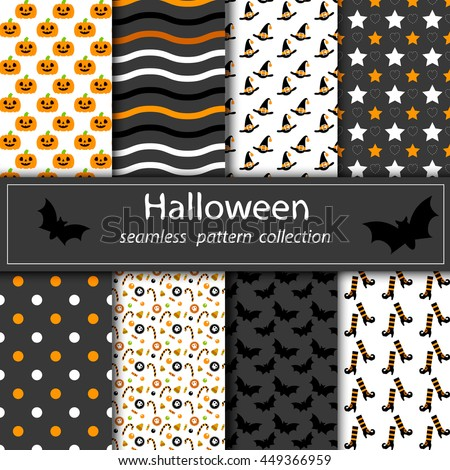 vintage set of halloween backgrounds collection of seamless patterns in traditional colors of the holiday - Color Of Halloween