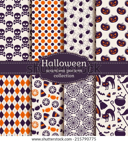 Set of halloween backgrounds. Collection of seamless patterns in white, orange and purple colors. Vector illustration.