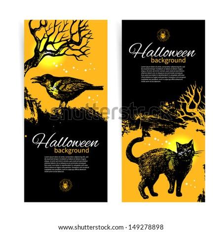 set of halloween banners hand