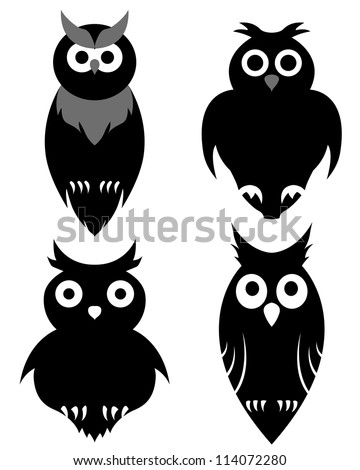 Set of halloween black owl. Vector illustration.