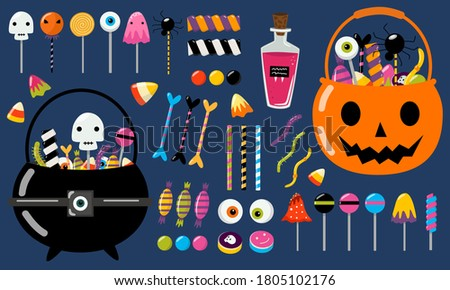 Set of Halloween candies for kids. Collection of vector isolated sweets - lollipops, caramel, marshmallow, marmalade, sugar bones. Trick or treat party bucket full of candy (bag, cauldron, pumpkin).