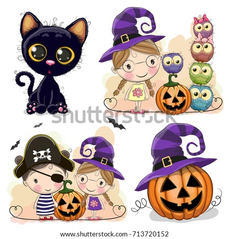 set of halloween cards with
