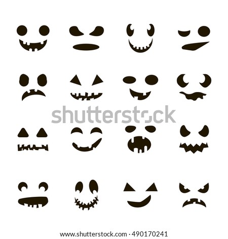 set of halloween cartoon scary