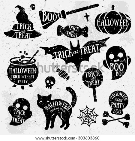Set of Halloween Characters with Text Inside. Grunge Typographic Design. Scrapbook elements. Vector illustration. Textured background.