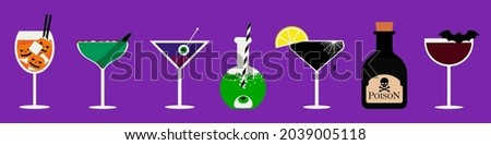 Set of Halloween cocktails. An illustration of seasonal drinks in different types of glasses. Vector illustration of spooky cocktails.