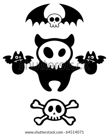 Set of Halloween dark cartoon skull characters. Vector illustration.