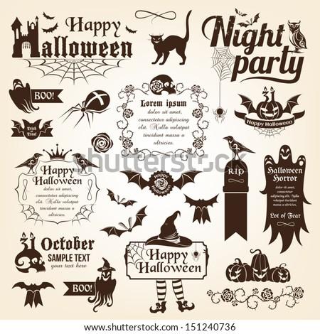 Set of halloween decorative elements. Monochrome version