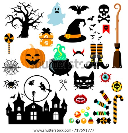 Set of Halloween design elements. Vector illustration.