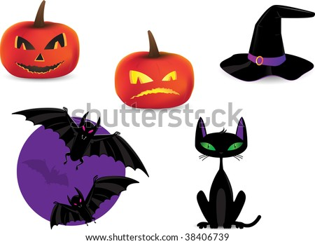 set of halloween detailed icons