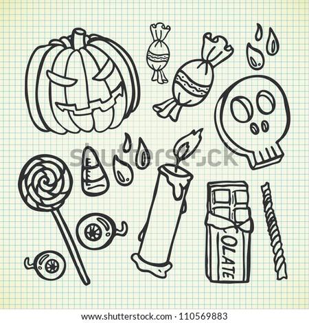 set of Halloween doodle - stock vector