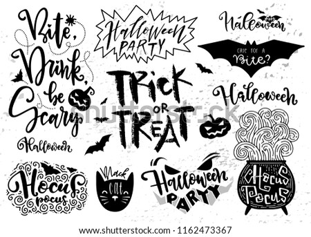 Set of Halloween elements, symbols and scripts. Lettering. Quoters for halloween card, poster. Pumpkin, but, black cat