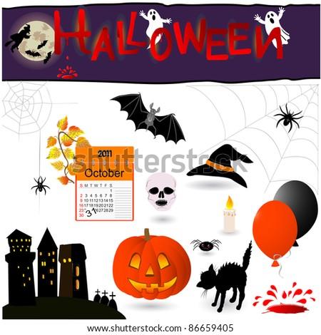 Set of 16 halloween elements. Vector illustration.