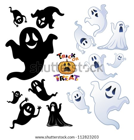 Set of Halloween Ghost, Halloween night, Ghost silhouette