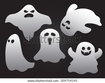 set of halloween ghosts  vectors
