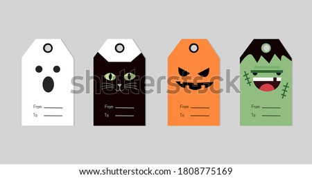 Set of 4 Halloween gift tags. Cute and scary label template for 31 October. Printable greeting cards with ghost , black witch cat, pumpkin and zombie illustration.