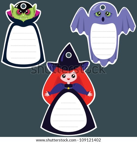 Set of halloween gift tags in the shape of: vampire, witch and ghost.