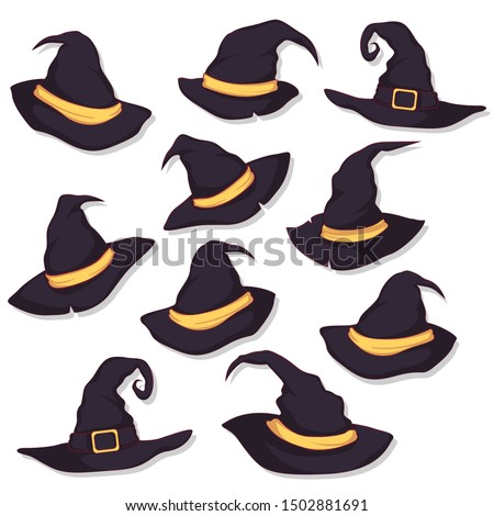 set of halloween hat vector illustration. witch hat isolated on white Сток-фото ©
