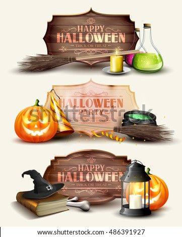Set of Halloween headers and banners with wooden sign and Halloween elements