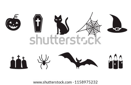 set of halloween icon symbols