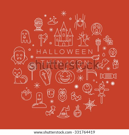 Set of halloween icons , eps10 vector format