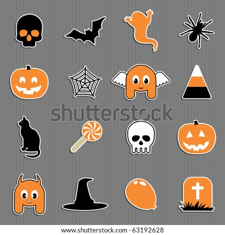 set of halloween icons in black orange and white