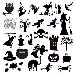 Set of halloween icons on white background