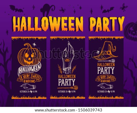 Set of halloween invitation with holiday decoration pumpkin and zombie hand vector illustration banner for witch, costumes, horror party. Design flyer with vintage lettering and hand-drawn elements.