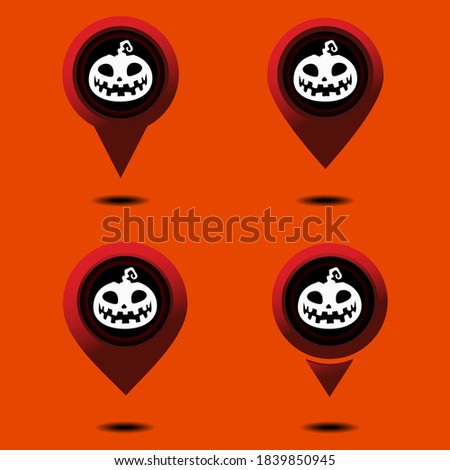 Set of halloween location pin. Horror   place. Map pinpoint. Different style. Illustration vector