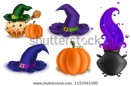 set of halloween objects  food