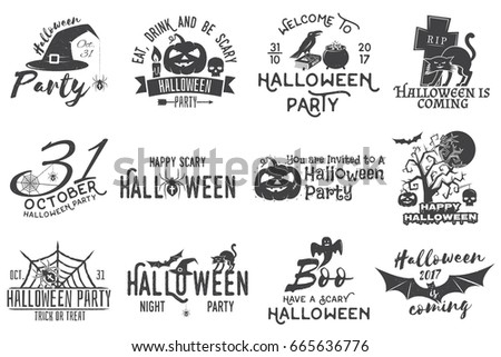 set of halloween party concept halloween party retro templates badges seals patches - Halloween Art Templates